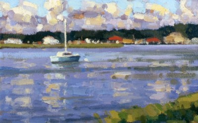 "Robert Morin Isley - ""Sailboat & River"", 9x9, Oil"