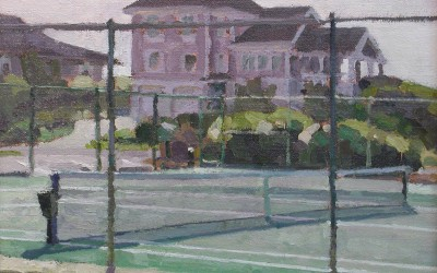 "Robert Morin Isley - ""Tennis Courts, Figure 8"", Oil, Sold"