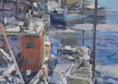 "Charles Movalli - ""Harbor Early Spring"", 36x36, Acrylic"