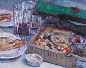 "Robert Morin Isley - ""Pizza Night"", Oil, Sold"