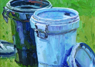 "Robert Morin Isley - ""Two Trash Cans"", 8x10, Oil, Sold"