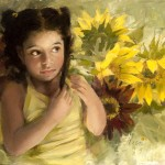 "Eileen Dineley Baatz - ""Little Girl with Sunflowers"", 9x12, 1200"