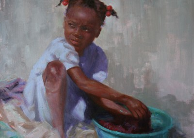 "Sharon Grubbs - ""Wash Day in Haiti"", 16x20, price 650"