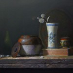 "Michael Ranucci - ""Stillife with Beanpot, Book and Vase"", 16x20, $2500"