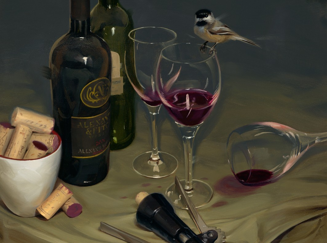 "Rob Rey - ""Nightcap Chickadee"", 20x16, 1300"