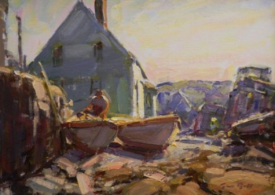"Tim Bell - ""Stowing Gear"", 14x18, Oil"
