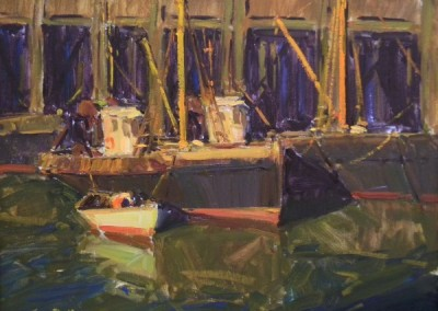 "Tim Bell - ""Draggers at MacMillans Wharf"", 16x20, Oil"