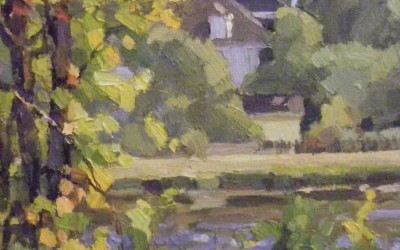 "Robert Morin Isley - ""Along the Waterway - Wilmington"", 8x8, Oil"