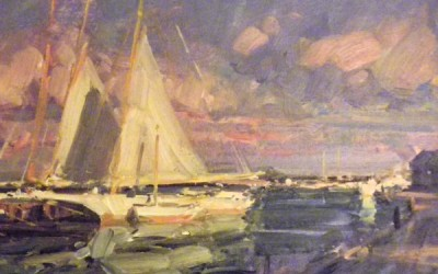"Tim Bell - ""Drying Sails"", Oil, Sold"