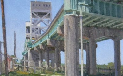 "Robert Morin Isley - ""Cape Fear River Bridge"", 9x12, Oil"