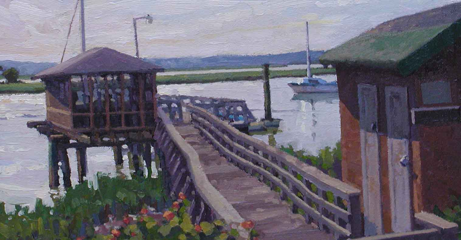 Roert Isley, Walls Fine Art Gallery, oil painting, waterway dock, moored sailboat, intracoastal waterway, inland waterway, Wrightsville Beach