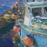 Walls Fine Art Gallery, Charles Movalli, acrylic painting, Gloucester MA