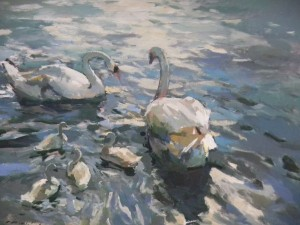 Charles Movalli - Swans On The Thames, 36x48, 8500