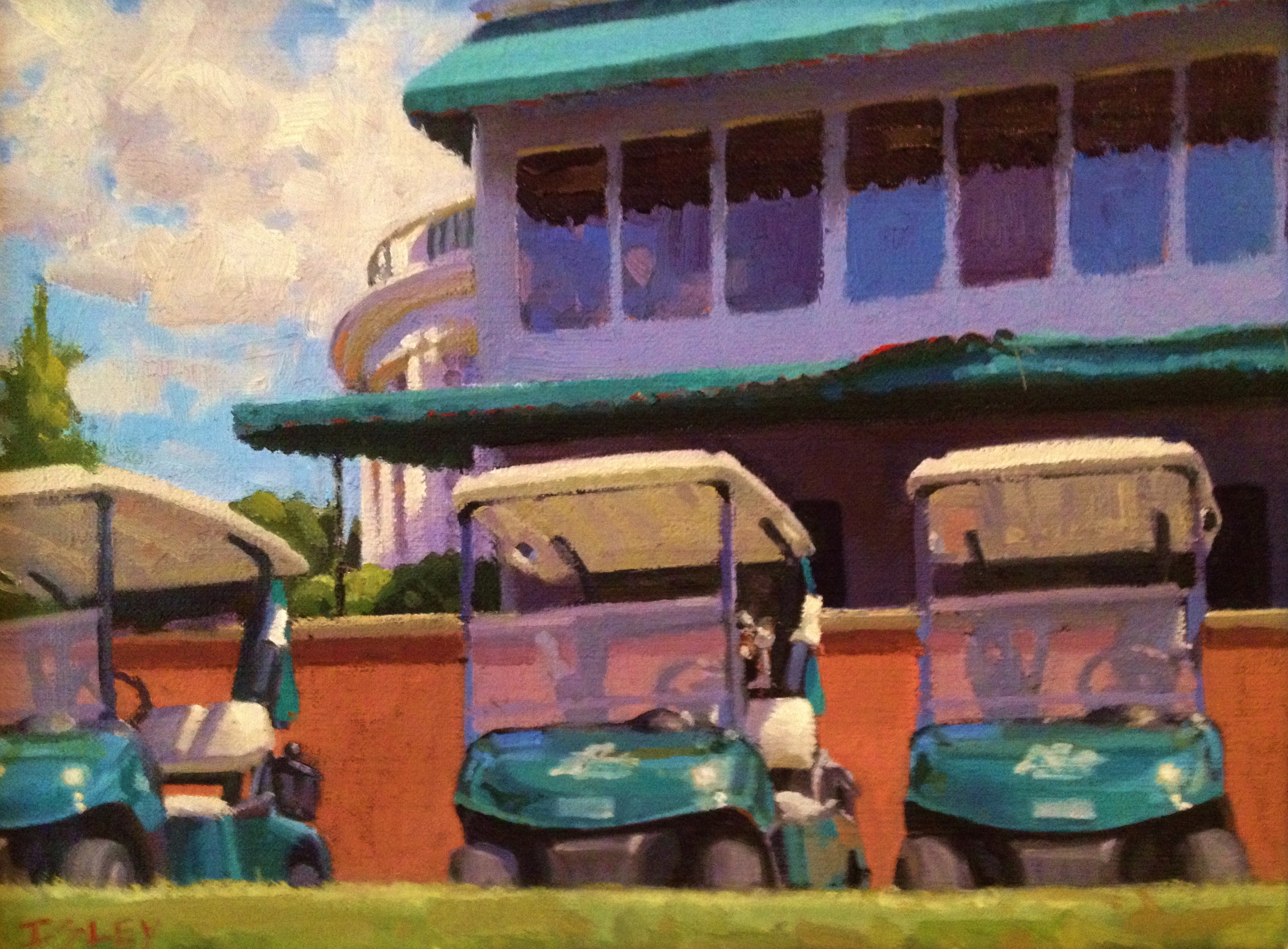 """Clubhouse and Carts, The Greenbrier"" 9x12, oil, $1450"