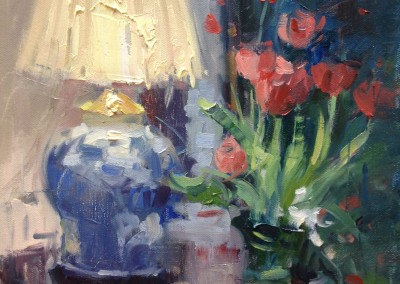 "Larry Moore - ""Greenbrier Still-life withTulips"",  11x14, Oil"