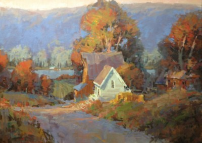 "Steve Songer - ""Evening on the Lake Road"",  30x36, Oil"