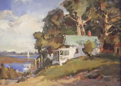 "Steve Songer - ""Home Place on the Waterway"", 12x16, Oil, SOLD"