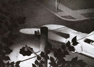 "Richard Chandler Hoff - ""Midnight Eastern Wartime"", 12x22, Graphite"