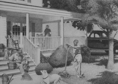 "Richard Chandler Hoff - ""Yardwork"", 13x17, Graphite"