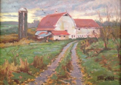 "William Maughan - ""Red Roof Barn"", 9x12, Oil, Sold"