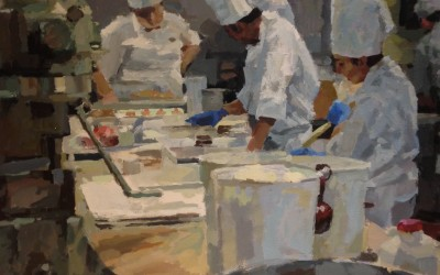 "Cameron Smith - ""Cooking with Gas"", 36x36, Acrylic, Sold"