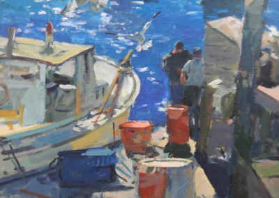 "Charles Movalli - ""Awaiting the Catch"", 36 x 36, Acrylic"