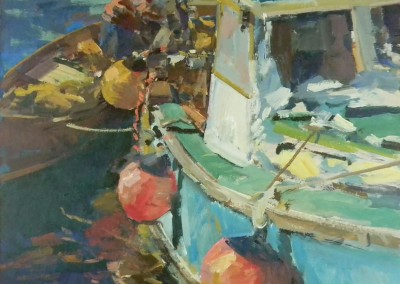 """Charles Movalli - """"Stowing Gear"""", 36 x 36, Acrylic"""