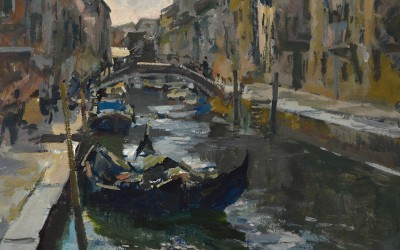 """Charles Movalli - """"The Canal"""", 36x36, acrylic"""