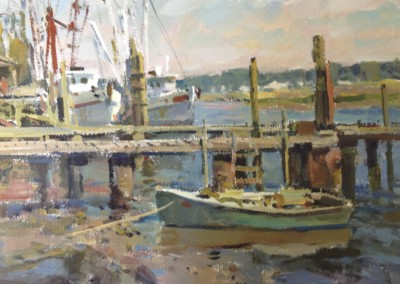 "Charles Movalli - ""Dock at Low Tide"", 20x24, Acrylic"