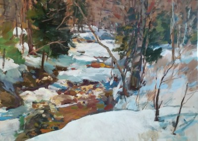 "Charles Movalli - ""Early Snow"", 48x48, Acrylic, SOLD"