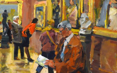 """Charles Movalli - """"The Connoisseurs"""", 24x30, Acrylic"""