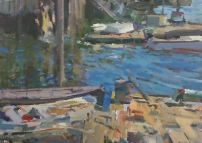 "Charles Movalli - ""The Old Harbor"", 36x36, Acrylic"