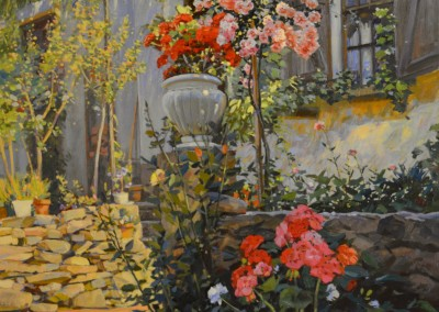 "TM-Nicholas - ""Terrace Flowers"", 36x30, Oil"