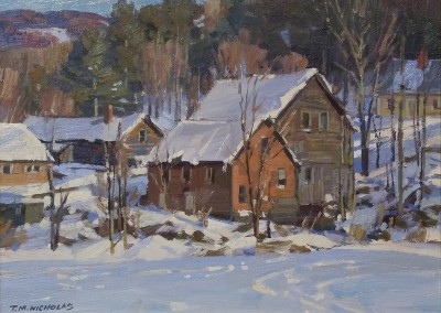 "TM Nicholas - ""Winter Roofs"", 9x12, oil SOLD"