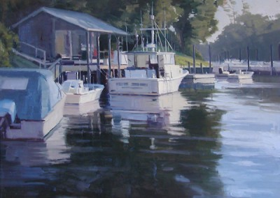 "John Poon - ""Middle Sound Mooring II"", Acrylic, SOLD"