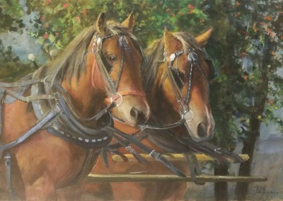 "Gil Dellinger -  ""Woodrow And Gus"",  24x36, Oil"