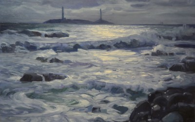 "Ken Knowles - ""Thatcher Island, Twin Lights"", 30x40, Oil"