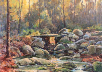 "Perry Austin	- ""Mtn. Creek Bridge"", 24x 24, Oil"