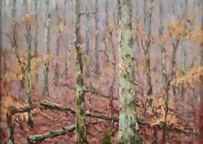 "Perry  Austin - ""Beech Leaves and Fog"", 12x12, Oil, sold"