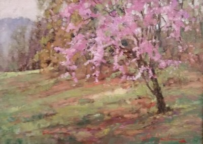 "Perry  Austin - ""Red Bud"", 8x10, Oil, SOLD"