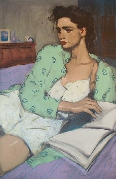 "Malcolm Liepke - ""Reading In Bed', 30 x 21, Lithograph"