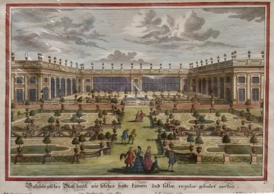 "Diesel, M. - ""Formal Garden View, Pl. 25"", 1725, Copper Engraving, $290"