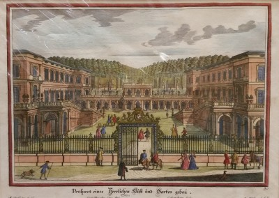 "Diesel, M. - ""Formal Garden View, Pl. 30"", 1725, Copper Engraving, $290"
