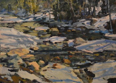 "Charles Movalli - ""The Thaw"", 30x40, Acrylic, SOLD"