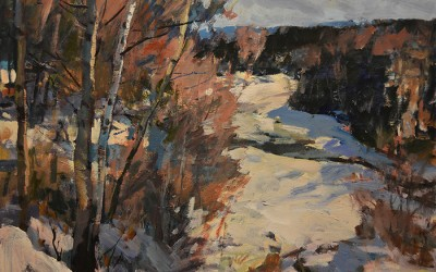 """Charles Movalli - """"Winter Birches"""", 30x40, Acrylic, SOLD"""