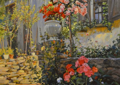 "TM Nicholas - ""Terrace Flowers"", 36x30, Oil"