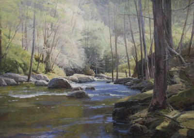 "John Poon - ""River Interior"",  48x60, Acrylic, Sold"