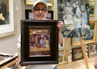 A chef with William Maughan's Painting