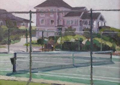 "Robert Morin Isley - ""Tennis Courts, Figure 8"", Oil, Sold"