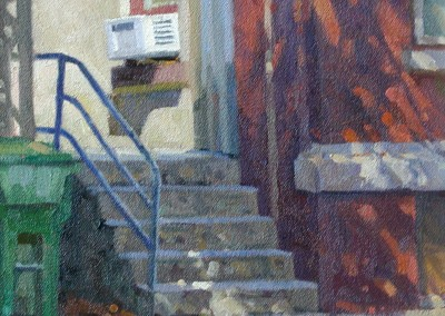 "Robert Morin Isley - ""Apartment House Steps"", Oil, Sold"